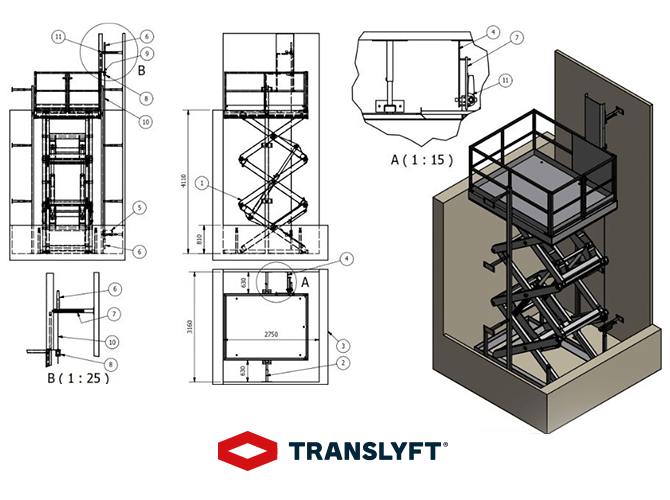 Translyft 3d drawing of goods lift