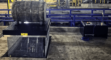 Whiskey barrel on translyft ATEX lifting table