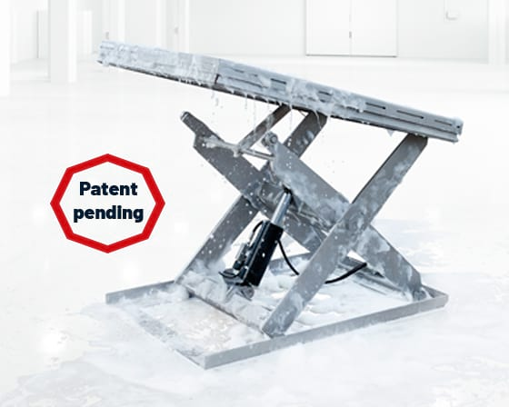 translyft hygienic design lifting table with patent mark