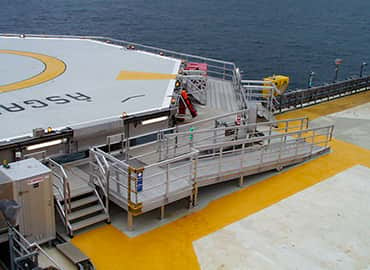 scissor table mounted on oil platform