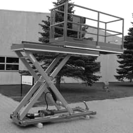 scissor lift with sideways retractable platform