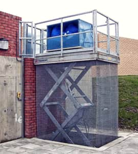 translyft galvanised goods lift mounted outside
