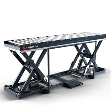 Lifting table with roller conveyor