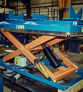 scissor lift with v-shaped fixing device